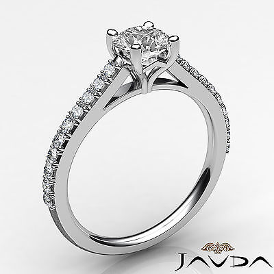 French V Pave Round Diamond Engagement Cathedral Ring GIA Certified F VS1 1.02Ct 1