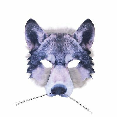 WOLF HALF FACE MASK REALISTIC FUR BOOK WEEK ANIMAL childs adults fancy dress (Realistic Animal Masks)
