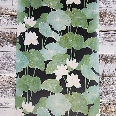 Roommates Black and Green Lily Pads Botanical Peel and Stick Modern Wallpaper  Roommates Peel And Stick