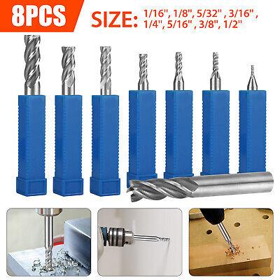 8pcs Solid Milling End Cutter Drill Bits 116-12 4 Flute Hss Slot Tool Set