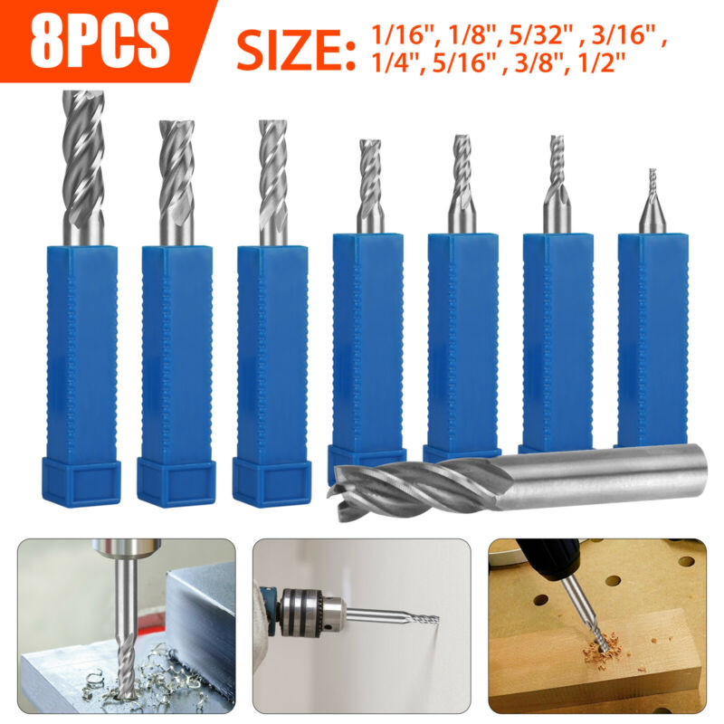8Pc Solid Milling Carbide End Cutter Drill Bit 1/16-1/2 4Flute HSS Slot Tool Set