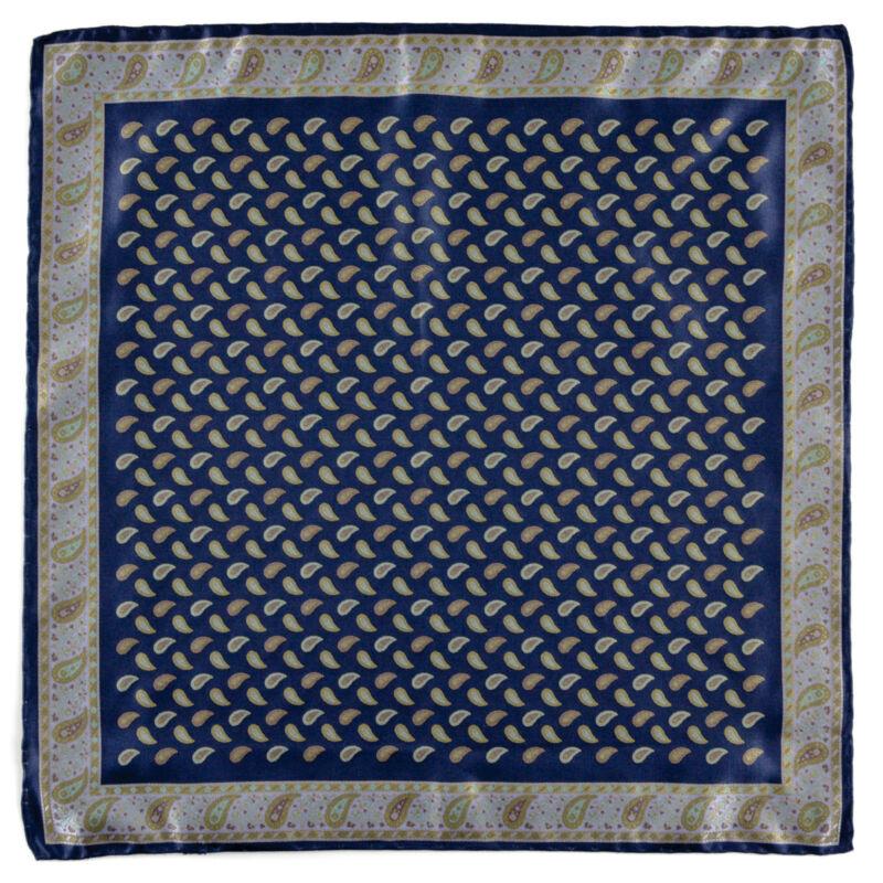 New SANTOSTEFANO Handmade Micro Paisley Pocket Square Handkerchief NWT $150