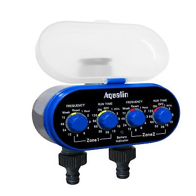 Aqualin Two Outlets Hose Water Timer Garden Irrigation System Controller Elec...