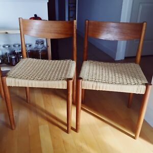 Pair of Mid Century Modern Teak Dining Chairs by Poul Volther