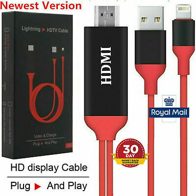 Lightning to HDMI CABLE iPhone 7 8 X iPad Screen AV TV Adapter 1080p USB Charger