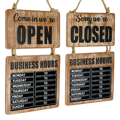 Business Hours Hanging Chalkboard Double Sided Openclosed