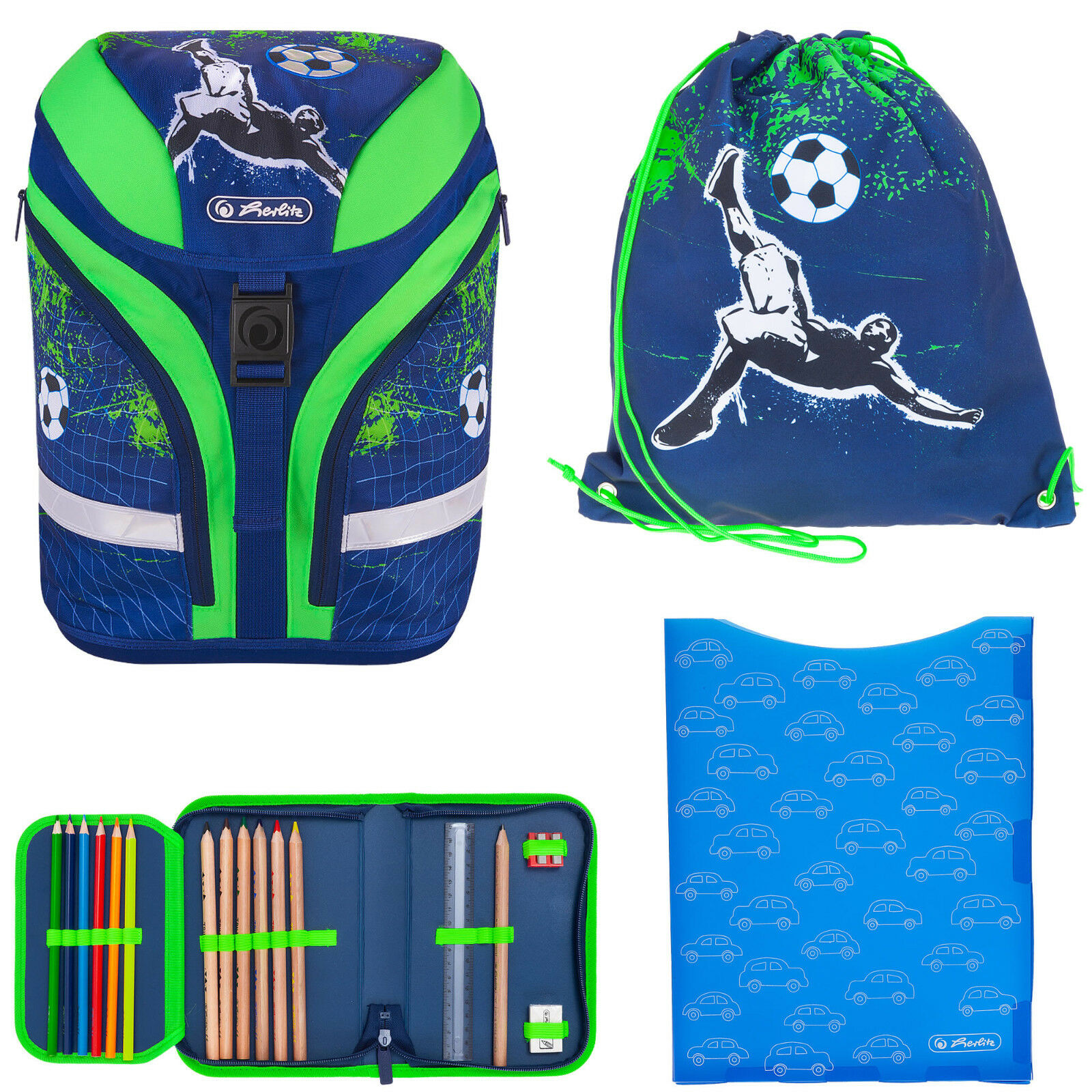 4 T Set Schulranzen Jungen Herlitz Motion Plus Rucksack Fußball Blau Kick It