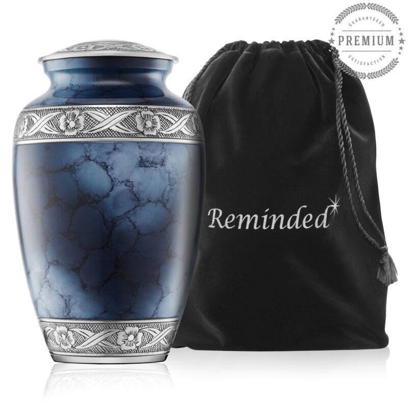 Adult Cremation Urn for Human Ashes - Blue and Silver with Velvet Bag