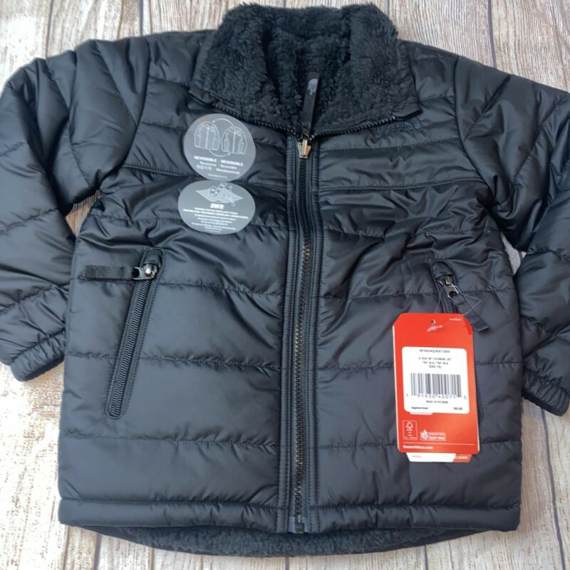 North Face XXS (5) Chimborazo Black Reversible Coat NEW Jacket Boys