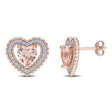 Amour Pink Silver CZ & Created Morganite Heart Earrings