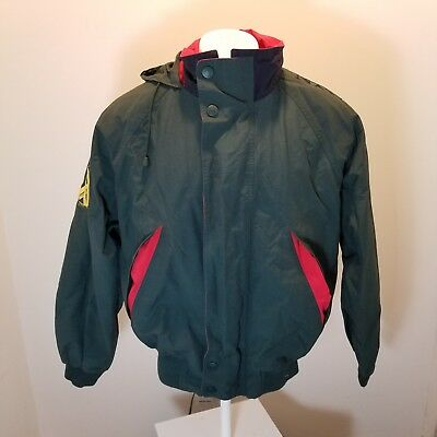 Vintage Nautica Challenge Spell Out Sailing Jacket J Class Green Red See Measure