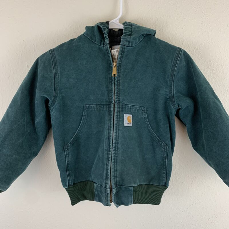 Vintage Carhartt Youth Union Made Green Canavs Jacket Size Small