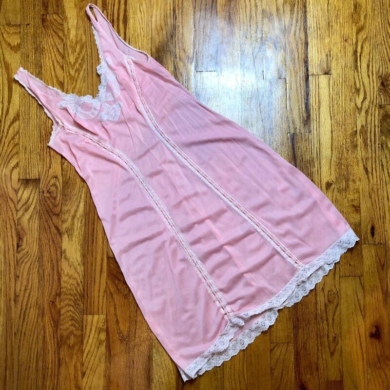Vintage Baby Pink Lingerie Slip Dress