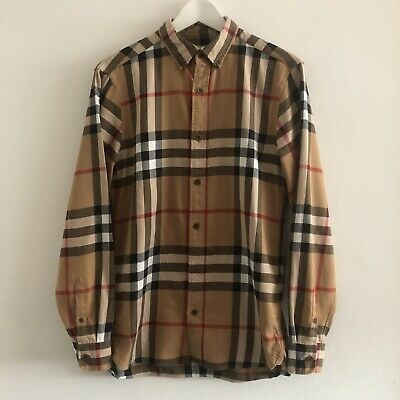 Burberry Shirt Small. Classic camel Check. 100% Cotton Flannel.