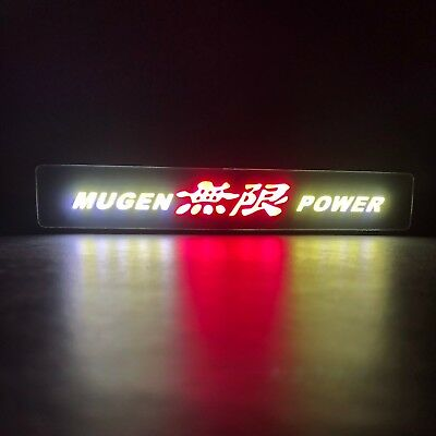 JDM Mugen Power Logo LED Light Car Front Grille Badge Illuminated Decal Sticker