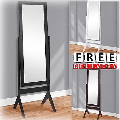 Floor Mirror Cheval Dressing White Black Full Length Bedroom Free Standing