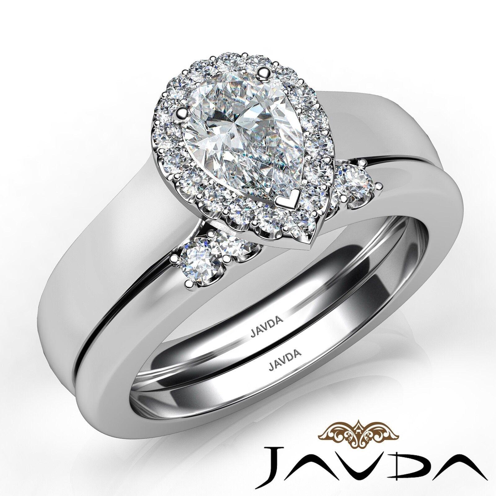 1.33ctw U Cut Pave Set Halo Bridal Pear Diamond Engagement Ring GIA F-VS2 W Gold 1