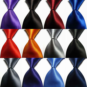 New-Solid-Plain-12-Colors-100-Silk-Necktie-Classic-JACQUARD-Woven-Mens-Tie