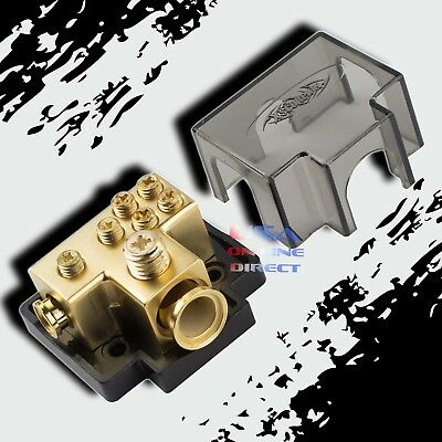 GOLD POWER GROUND DISTRIBUTION BLOCK 1/0 or 2 IN & one 4 & four 8 GAUGE OUT AMP