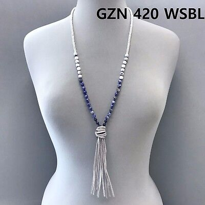 Silver Finished White &  Blue Bead Ball Grey Faux Leather Tassel Necklace - White Bead Necklaces