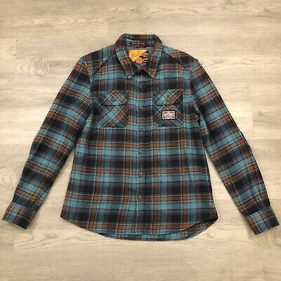 SuperDry Mens Teal Orange Plaid Milled Flannel Shirt Cotton Size XL
