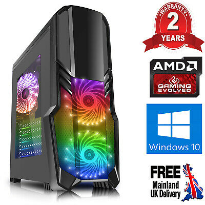Computer Games - Mega Fast AMD Quad Core HD 8GB 240GB SSD Home Gaming PC Computer Windows 10 RB