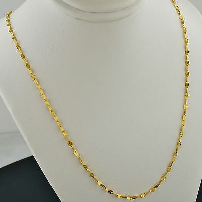 14K YELLOW GOLD 2.1MM SOLID OVAL SATIN FINISH MARINE LINK NECKLACE