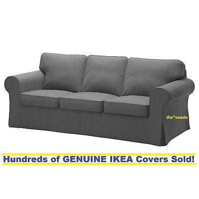 Ikea Ektorp Three  3  Seat Sofa Slipcover Cover Nordvalla Dark Gray New  Sealed