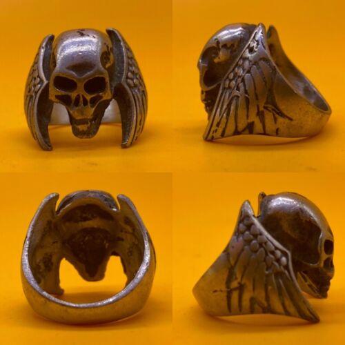 CIRCA 900 - 1100 AD ANCIENT VIKING NORSE SILVER SKULL RING