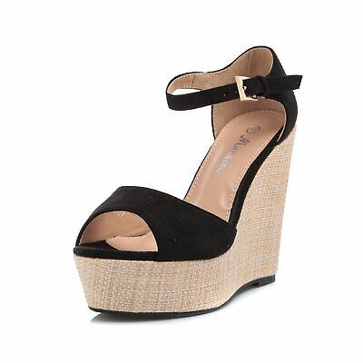 Scarpe donna sandali zeppa espadrillas tacco alto spuntate scamosciate A1387-2