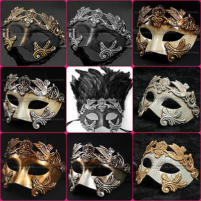 Venetian Roman Warrior Masquerade Party Mask for Men - Black Silver Gold (Venetian Masquerade Masks For Men)
