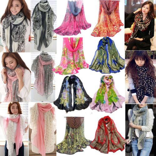 Scarf - 24Styles  Women Fashion Pretty Long Soft Chiffon Scarf Wrap Shawl Stole Scarves