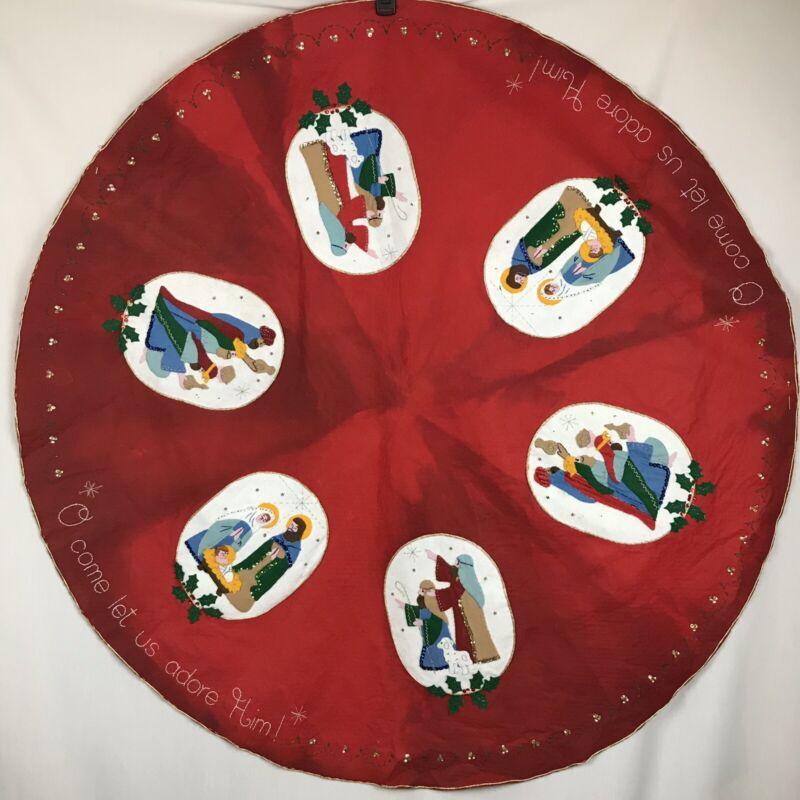 Vintage Bucilla Felt Appliqué Embroidered Tree Skirt Christmas Nativity Discolor