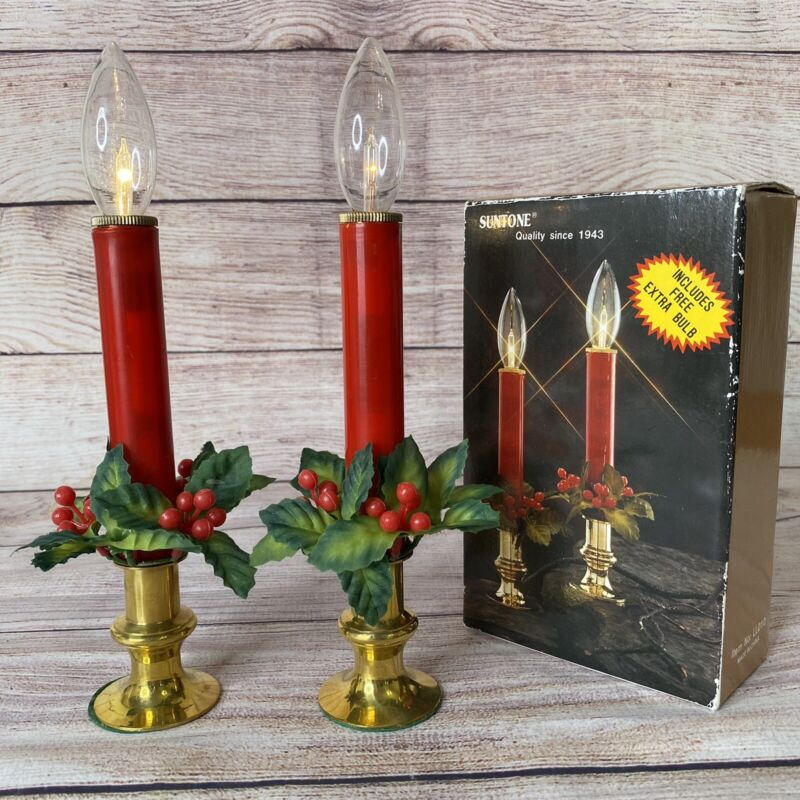 Christmas Window Candle Battery Operated Brass Base Plastic Candle Stick Red NOS