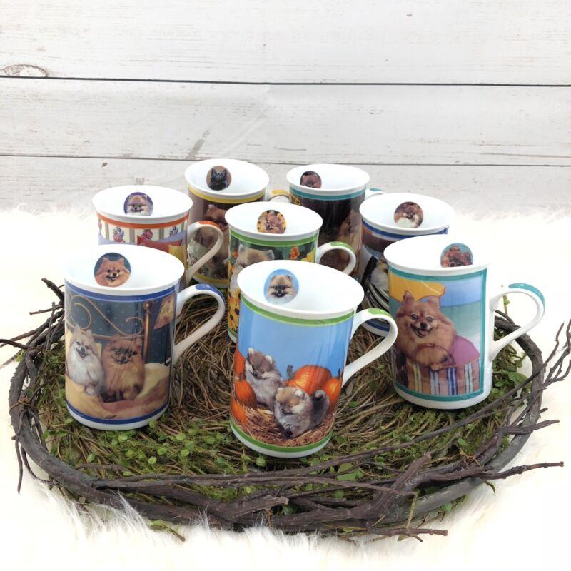 Danbury Mint Lot Purely Pomeranians Collection Of 8 Coffee Cup Mug Tea Set E
