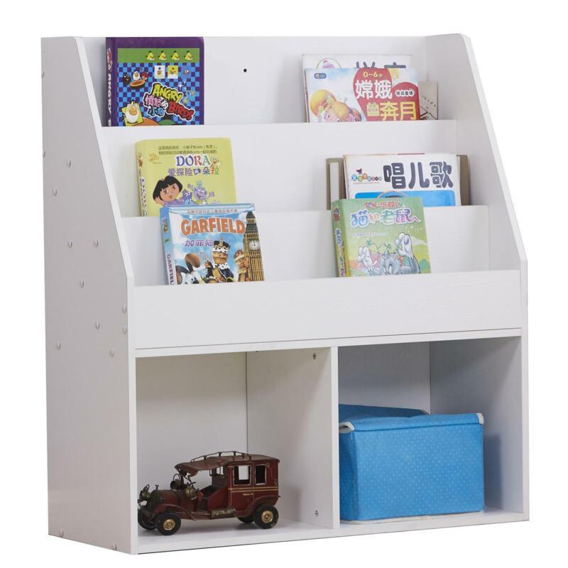 4 Tiers Bookcase Children Cartoon Living Open Bookshelf Display Organizer