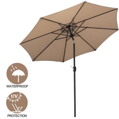 9′ Patio Umbrella Outdoor Table Umbrella with 8 Sturdy Ribs Garden Lawn Backyard Garden Structures & Shade