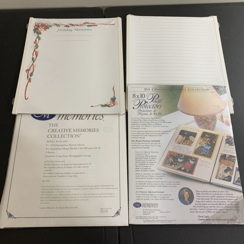 """NEW Lot of 4 8x10 CREATIVE MEMORIES 8"""" x 10"""" Page Protectors holiday refills"""