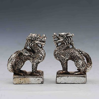 A Pair Oriental Vintage Silver copper Hand Carved Long type seal Statue G782