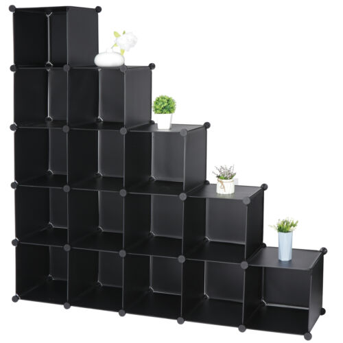 16 Cube Organizer Plastic Cube Storage Shelves Closet Cabinet DIY Modular Closet Organizers