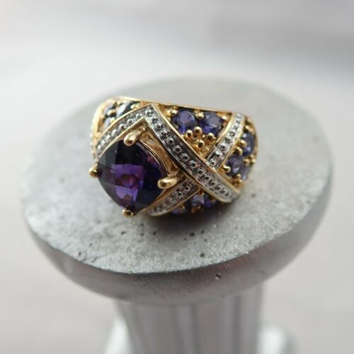 CA 925 Gold Over Sterling Silver Purple Sapphire Cushion Cut Size 4.75 Ring 8.7