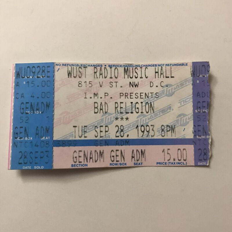 Bad Religion WUST Radio Music Hall Washington DC Concert Ticket Stub Vtg 1993