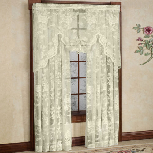 Abbey Rose Floral Pattern High Gauge Lace Curtain Single Panel 50″W x 84″L Ivory Curtains & Drapes