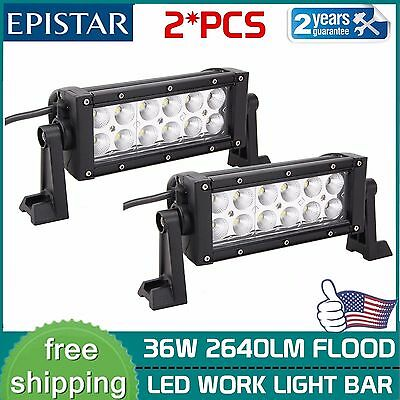 2x 8INCH 36W LED WORK LIGHT BAR FLOOD BEAM FOG DRIVING OFFROAD LAMP 4WD EPISATR