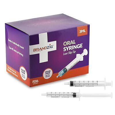 3ml Oral Syringes - 100 Pack Luer Slip Tip Fda Approved