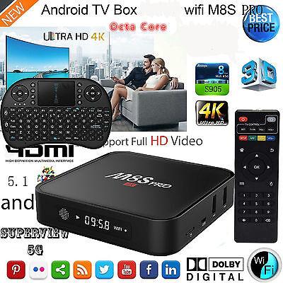 4K HD WIFI Smart TV BOX Android 5.1 Octa Core KODI Media Player+Wireles Keyboard