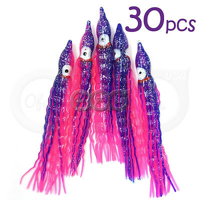 """3.5/"""" Squid Skirts Pink Clear with Silver Flake 25 Pack Hoochie 3½/"""" Hoochies"""