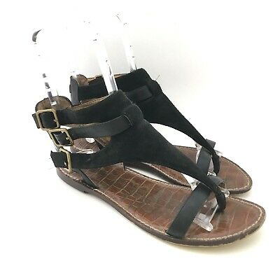 Sam Edelman 6 M Sandals Gladiator Black Grenna Ankle Strap Buckle Leather Womens