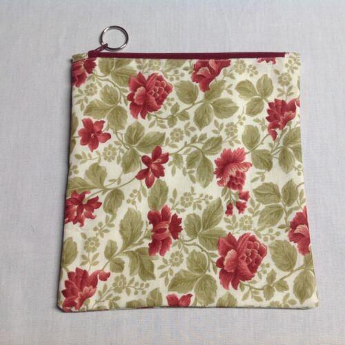 Cloth Zipper Pouch Make Up Stash Bag Handmade Fabric Flowers Tan Mauve
