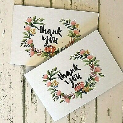 Thank You Cards - Small Vintage Floral Wreath Stickers Pack of 10 inc Envelopes